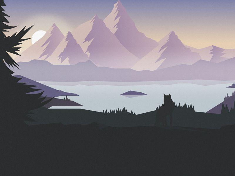 Mountains Illustration Mountain Illustration Mountain Mural Landscape Wallpaper