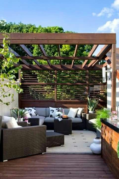 Pergola And Privacy Screen For Back Deck Small Backyard