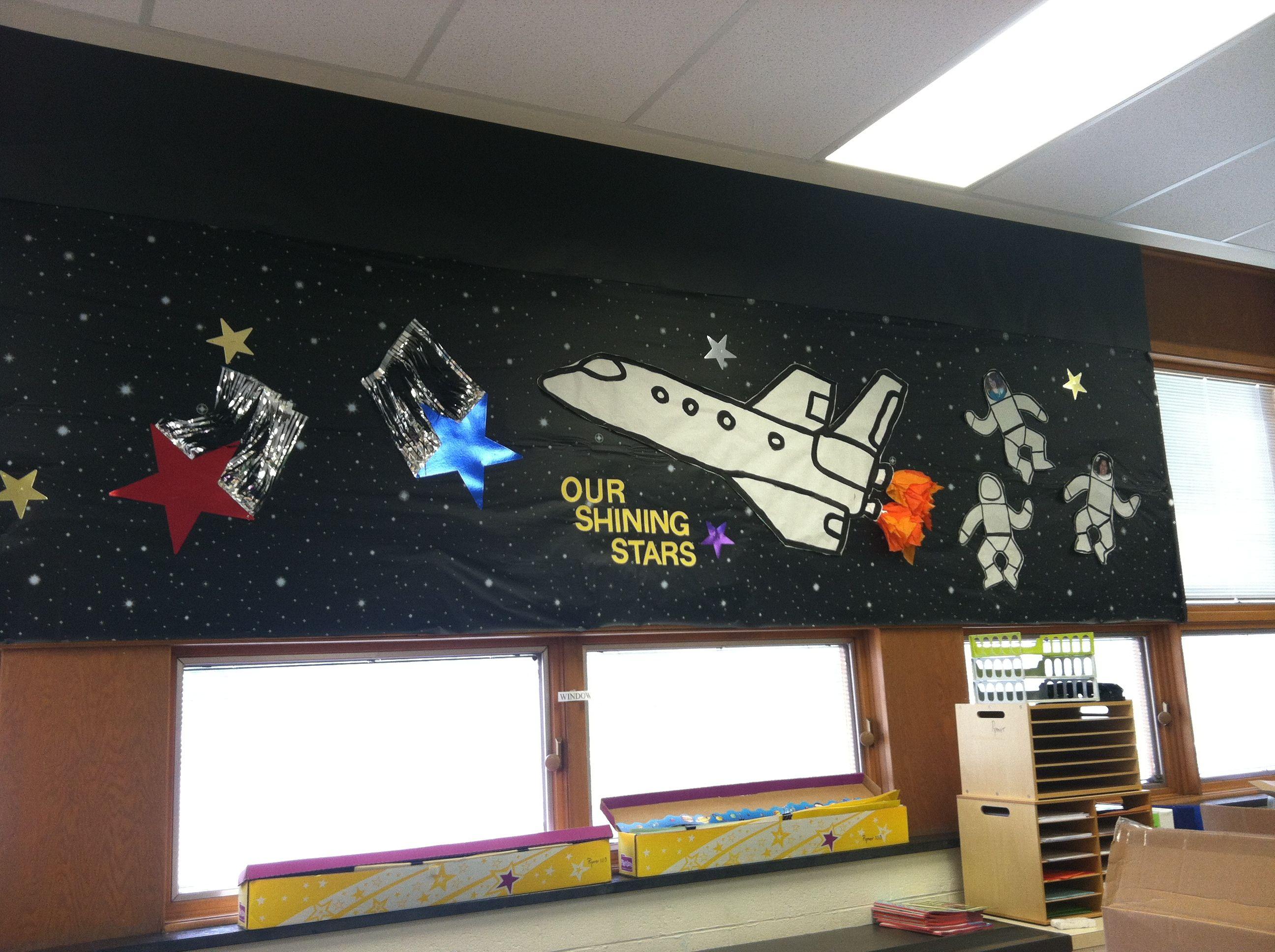 Back To School Space Themed Bulletin Board Classroom Bulletin Boards School Bulletin Boards Space Bulletin Boards