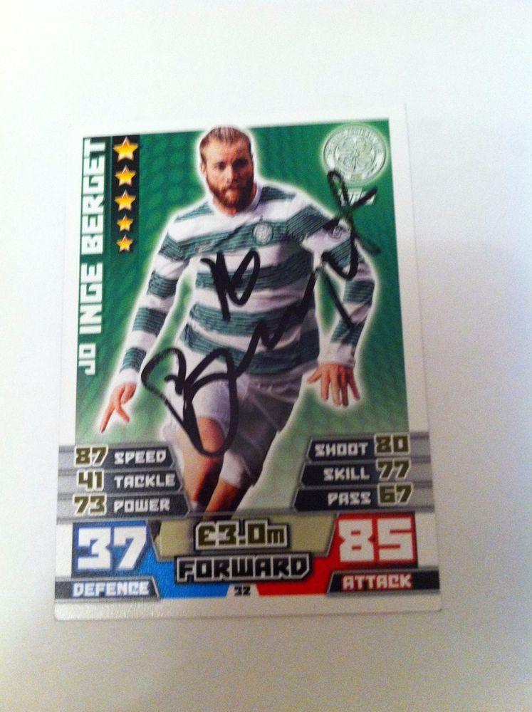 Jo Inge Berget Celtic Footballer Signed Match Attax  SPFL Trading Card/autograph
