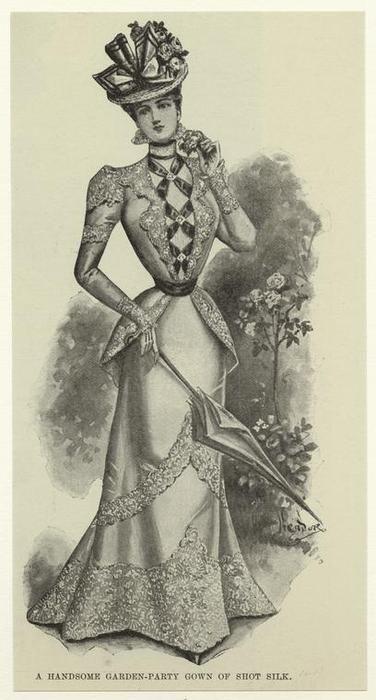 A handsome garden-party gown of shot silk. (1898)