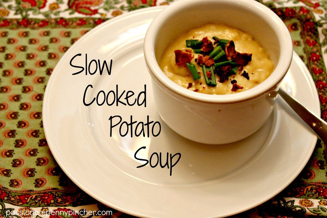 This Slow Cooker Potato Soup is so simple and just delicious! Pair it with a fresh loaf of bed or some crackers and cheese ~ yum!