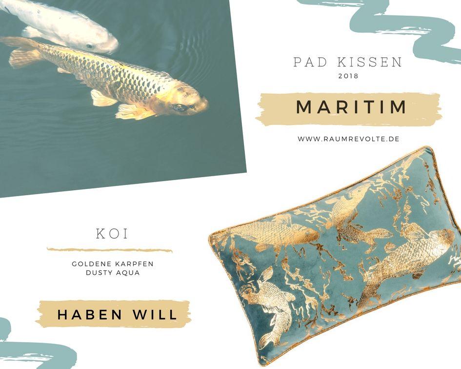 Pad Kissenhulle Koi 30x50 Aqua Mit Goldenen Karpfen Koi Kissen