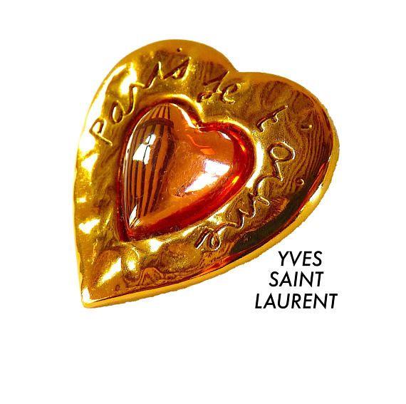 1c32b8a562a Vintage SAINT LAURENT Brooch Paris je t'aime, R. Goossens for YSL ...