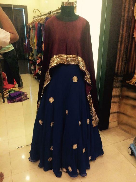 Fatimabi Plussize Tail Cut Long Cape Dress Border Gherdaar Embroidery Blue Skirt Lehegacholi