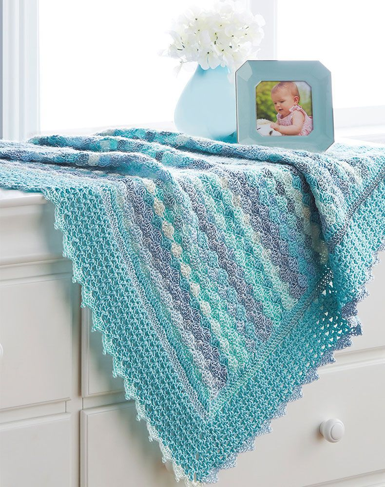 Mary Maxim - Free Aqua Shells Baby Afghan Pattern - Free Patterns