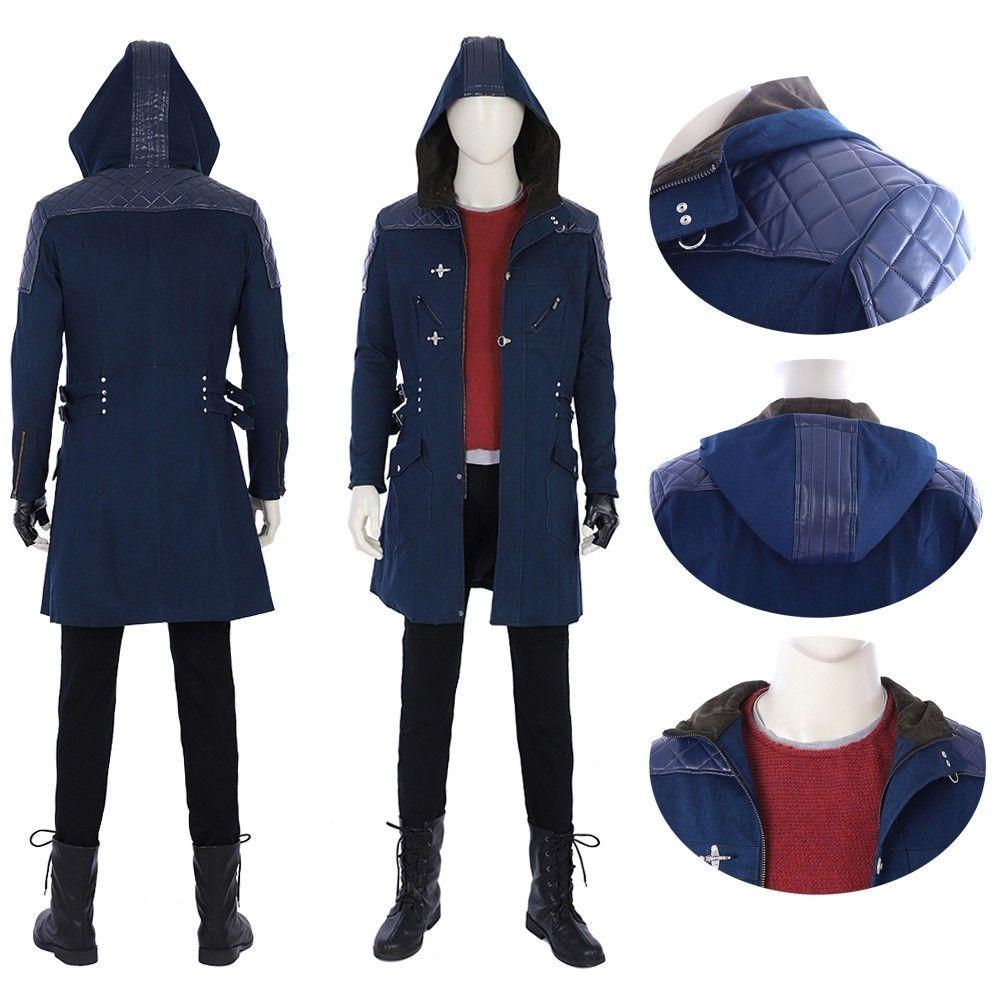 DMC Devil May Cry 5 Nero Men Coat Costume Cosplay Halloween Comic Con Jacket