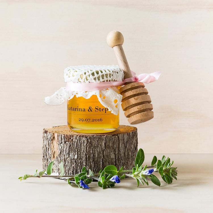 Custom Favours - Honey Jar With Wooden Dipper