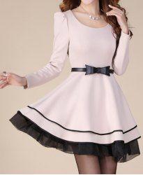 $19.45 Boetie Belt Beam Waist Stitching Ruffles Bouffant Cotton Blend Color Matching Dress For Women