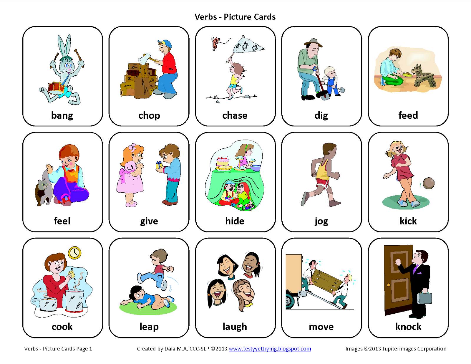 Testy yet trying: Verbs: Free Speech Therapy Picture Cards ...