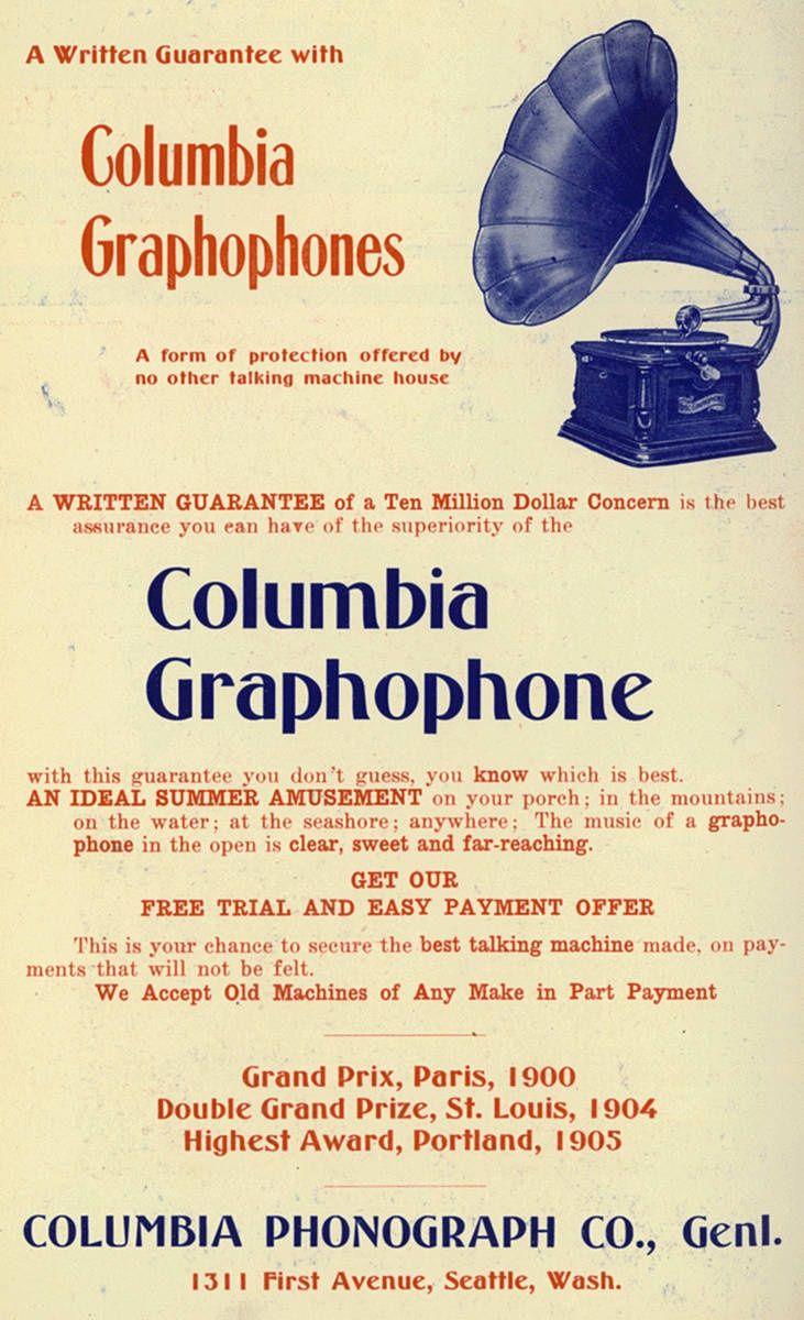 HOME ENTERTAINMENT: Columbia Graphophones  1906