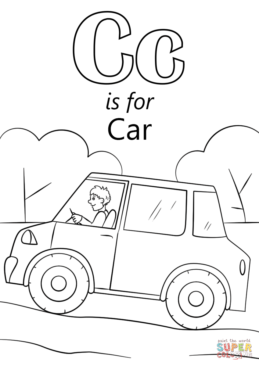 Letter C is for Car | Super Coloring | Abc coloring, Cars coloring ...