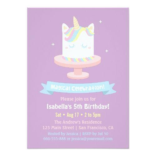 Unicorn birthday invitation cute unicorn cake girls birthday party unicorn birthday invitation cute unicorn cake girls birthday party invitations stopboris Gallery