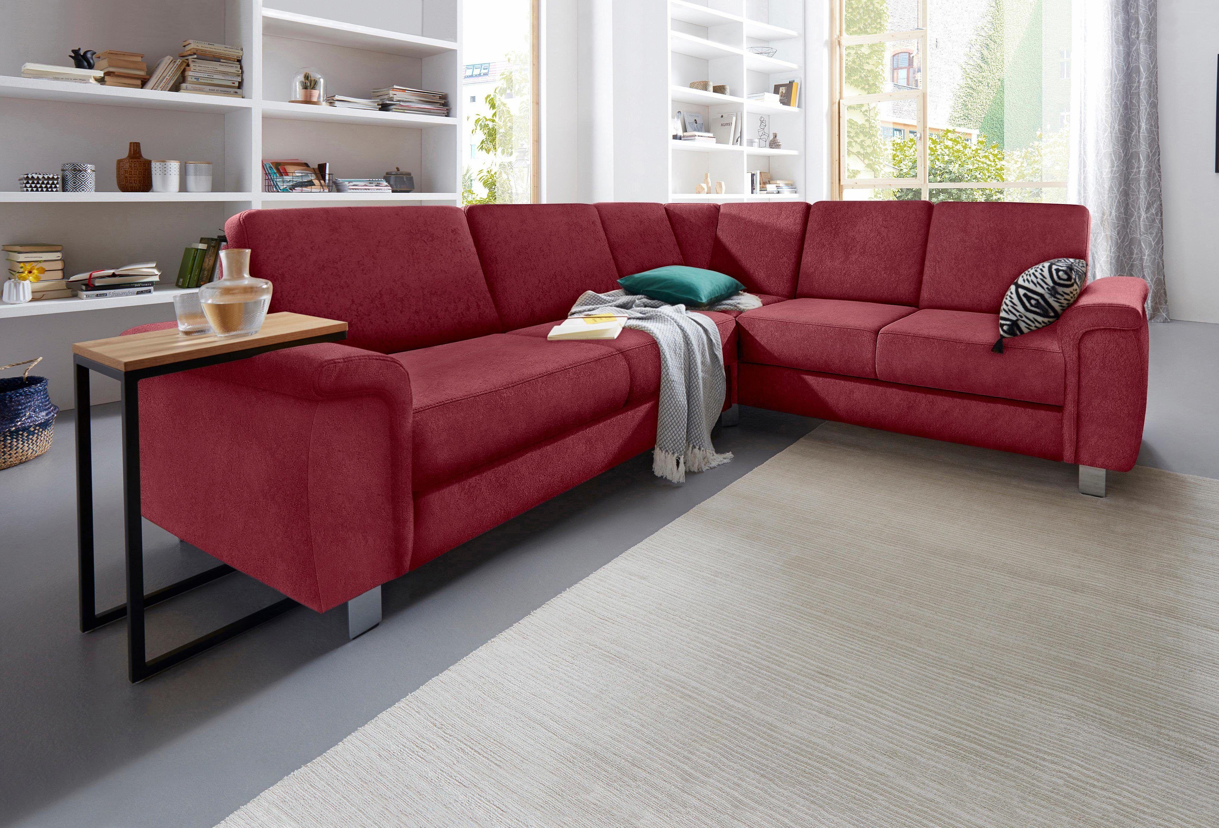 Bezaubernd Sofa Mit Schlaffunktion Und Bettkasten Galerie Von Sit&more Ecksofa Rot, Langer Schenkel Links, Schlaffunktion,