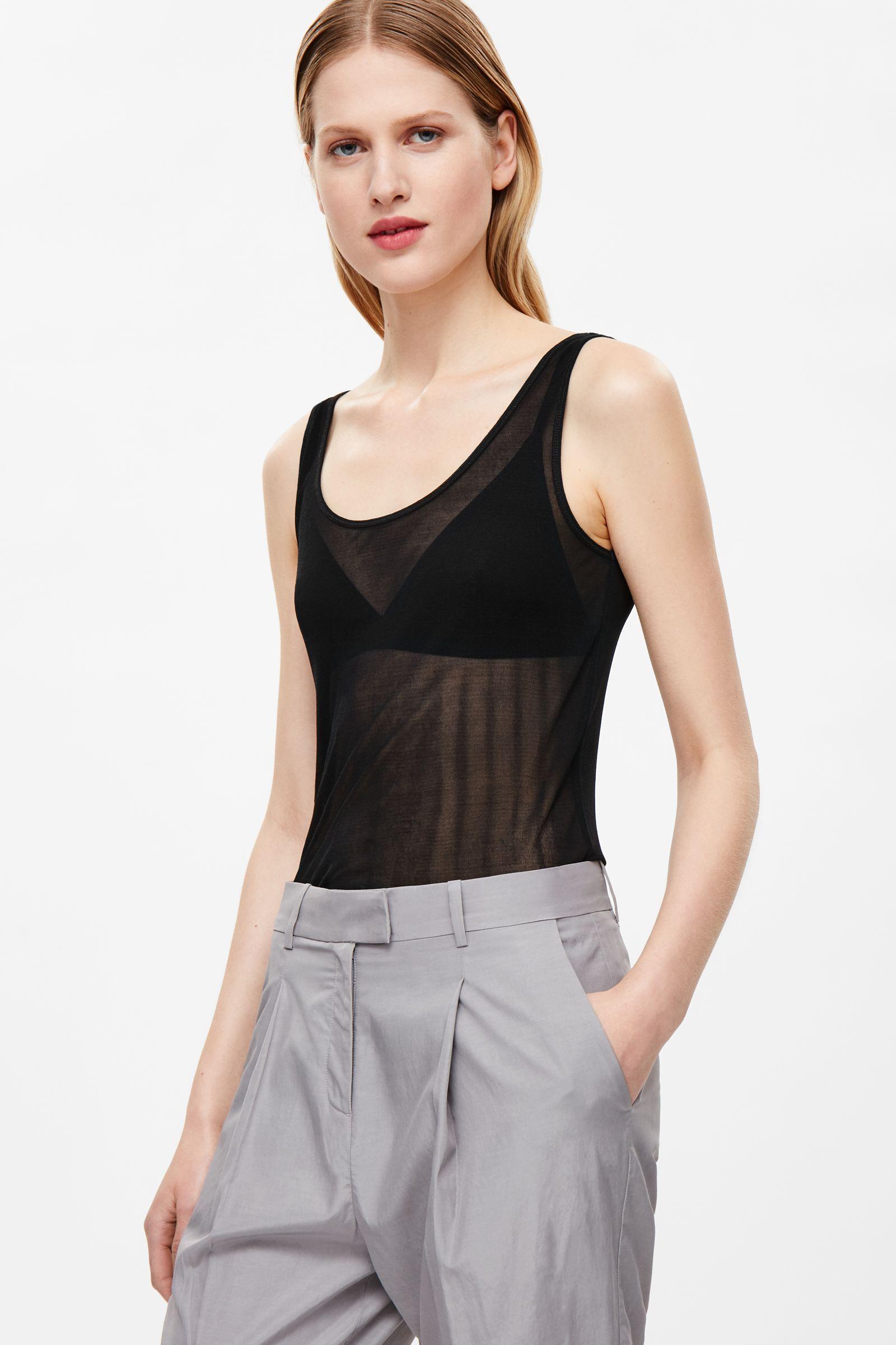 COS | Sheer silk vest top in Black
