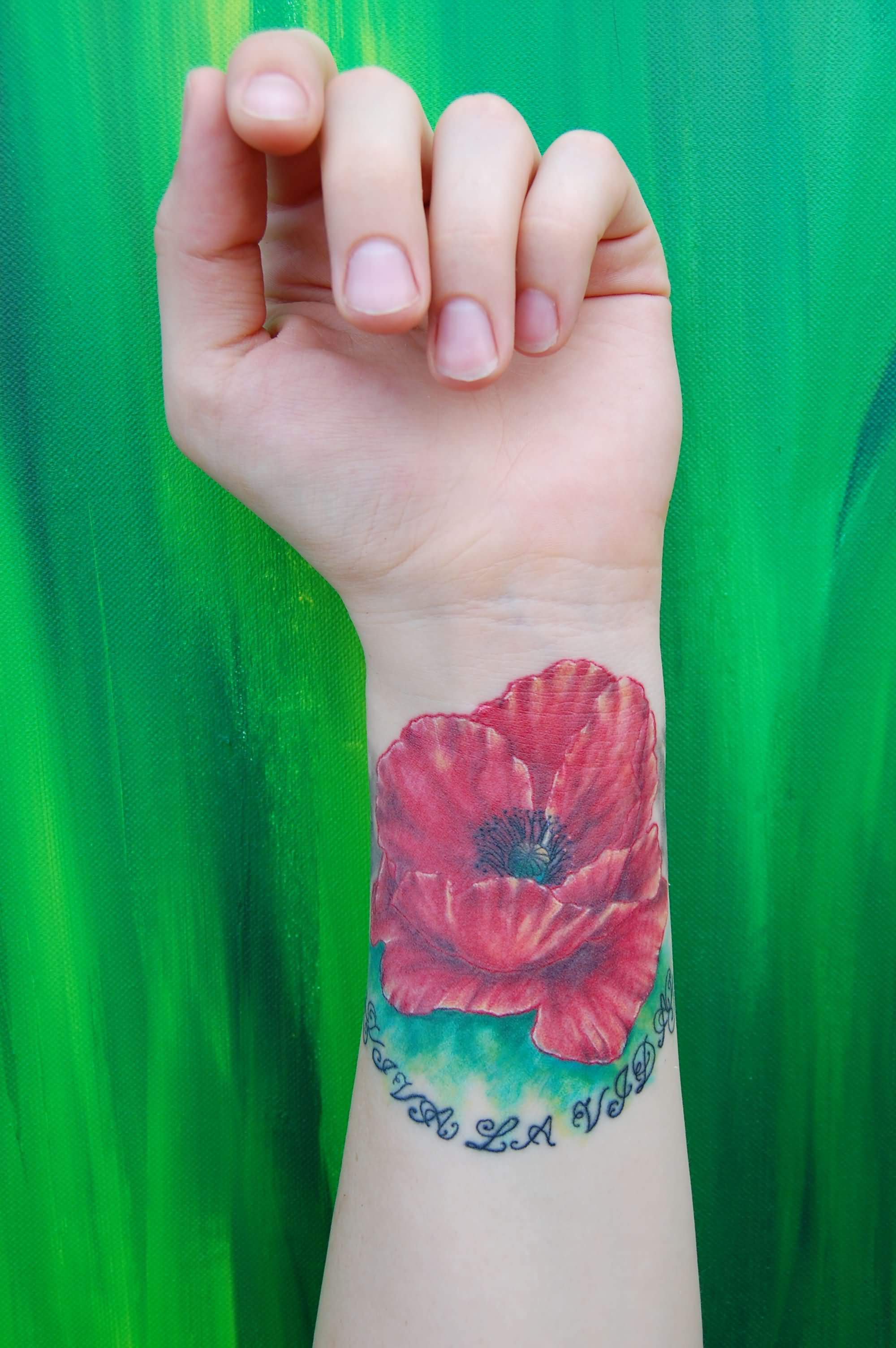 Poppy Flower Tattoo on Wrist Left Wrist Poppy Tattoo