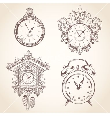 Old Vintage Clock Set Vector Image On Vectorstock Vintage Clock