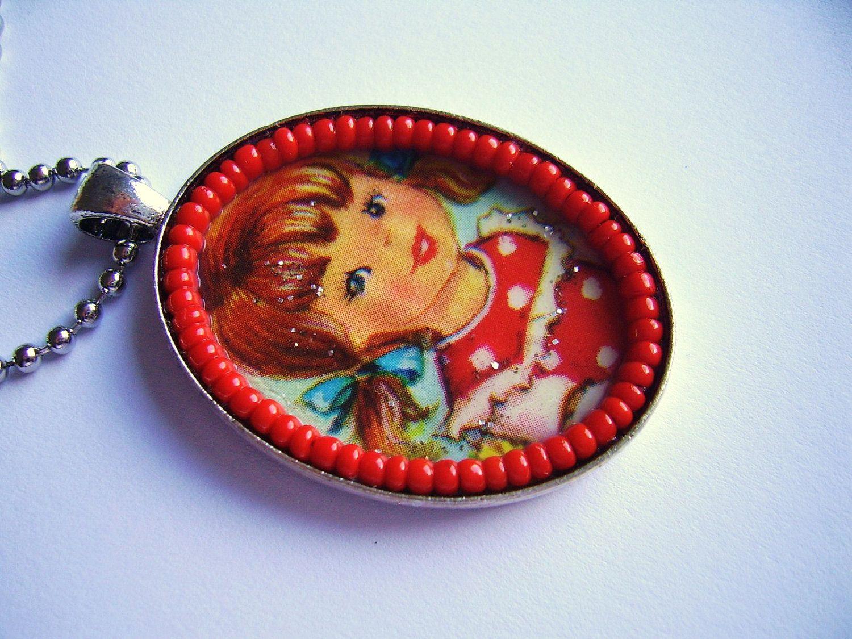 SALE handmade pendant sweet little girl door SillyOldSuitcase
