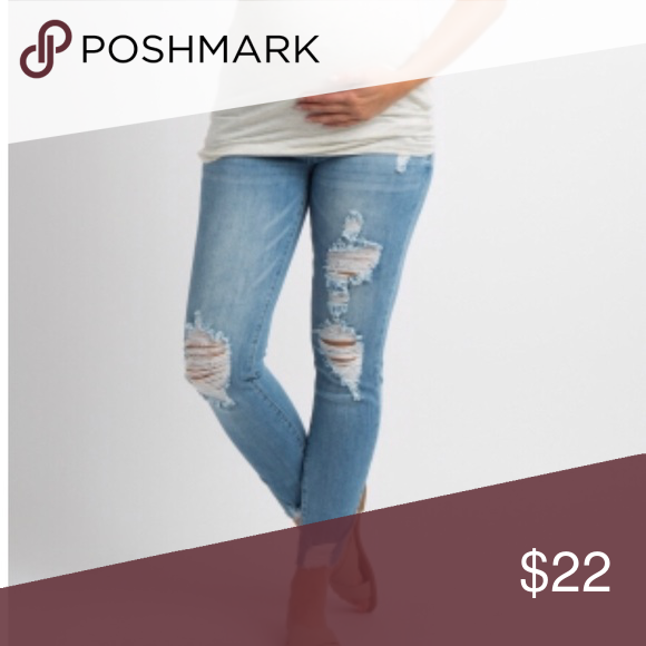 6fcd1fde6a64d Light blue ripped maternity jeans Light blue ripped raw cut maternity jeans  Pinkblush Jeans