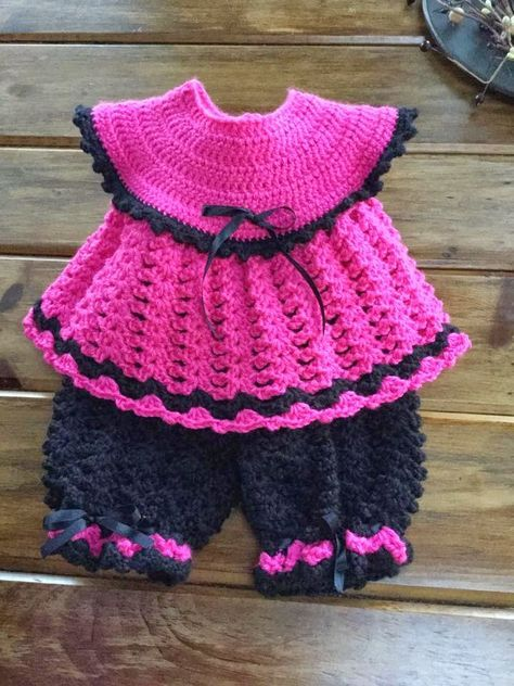 Northern Girl Stamper Boutique Baby Crochet Pinafore Pants Set