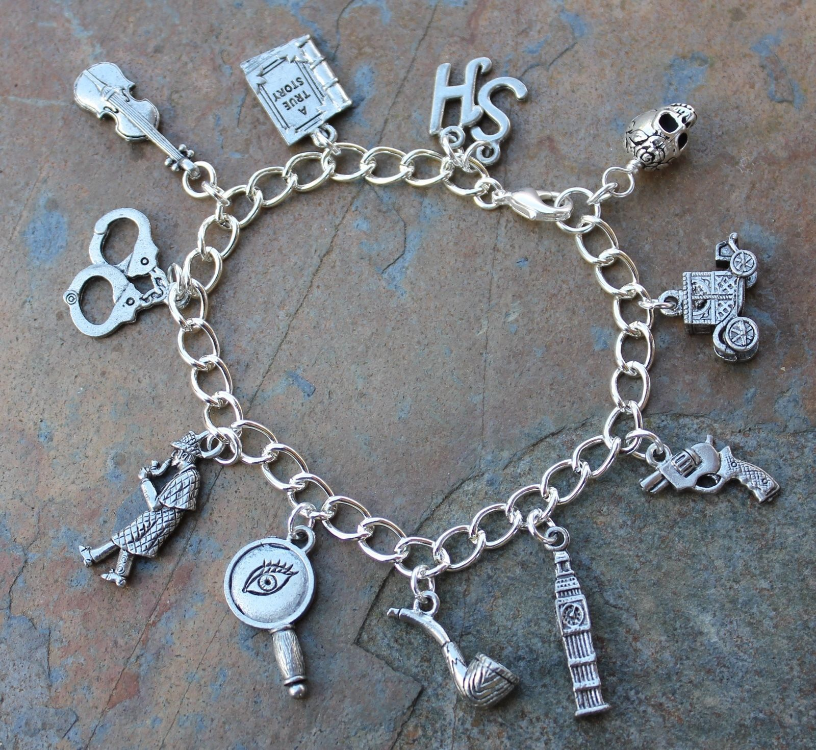 Details about Sherlock Holmes charm bracelet- mystery detective & London themed charms, fandom