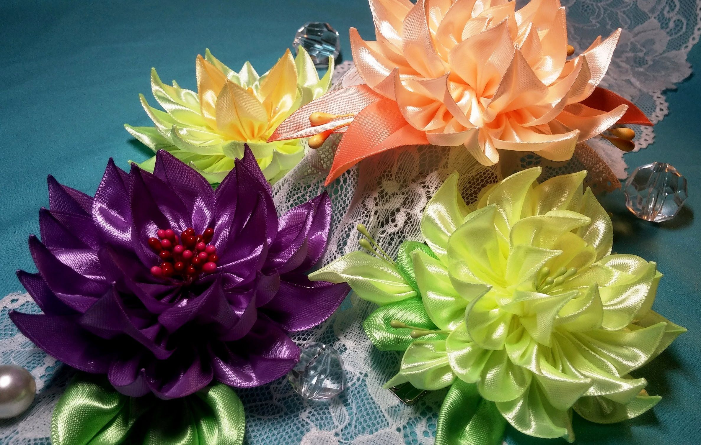 Ribbon flowers:dahlia/Flores de cintas:dalia/Цветы из лент:георгин.МК #ribbonflower