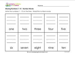 missing numbers 1-10 number words | barb ice | Pinterest | Number ...
