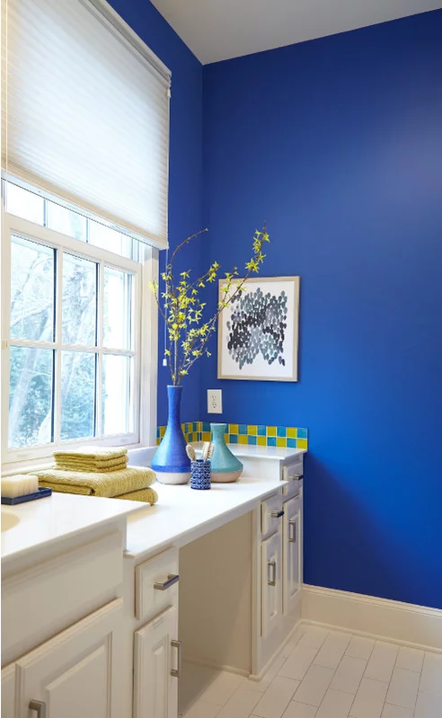 behr color of the year in the moment  blue bathroom