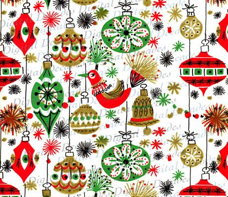 Funky Mid-Century Christmas Ornaments Background - Digital Image ...