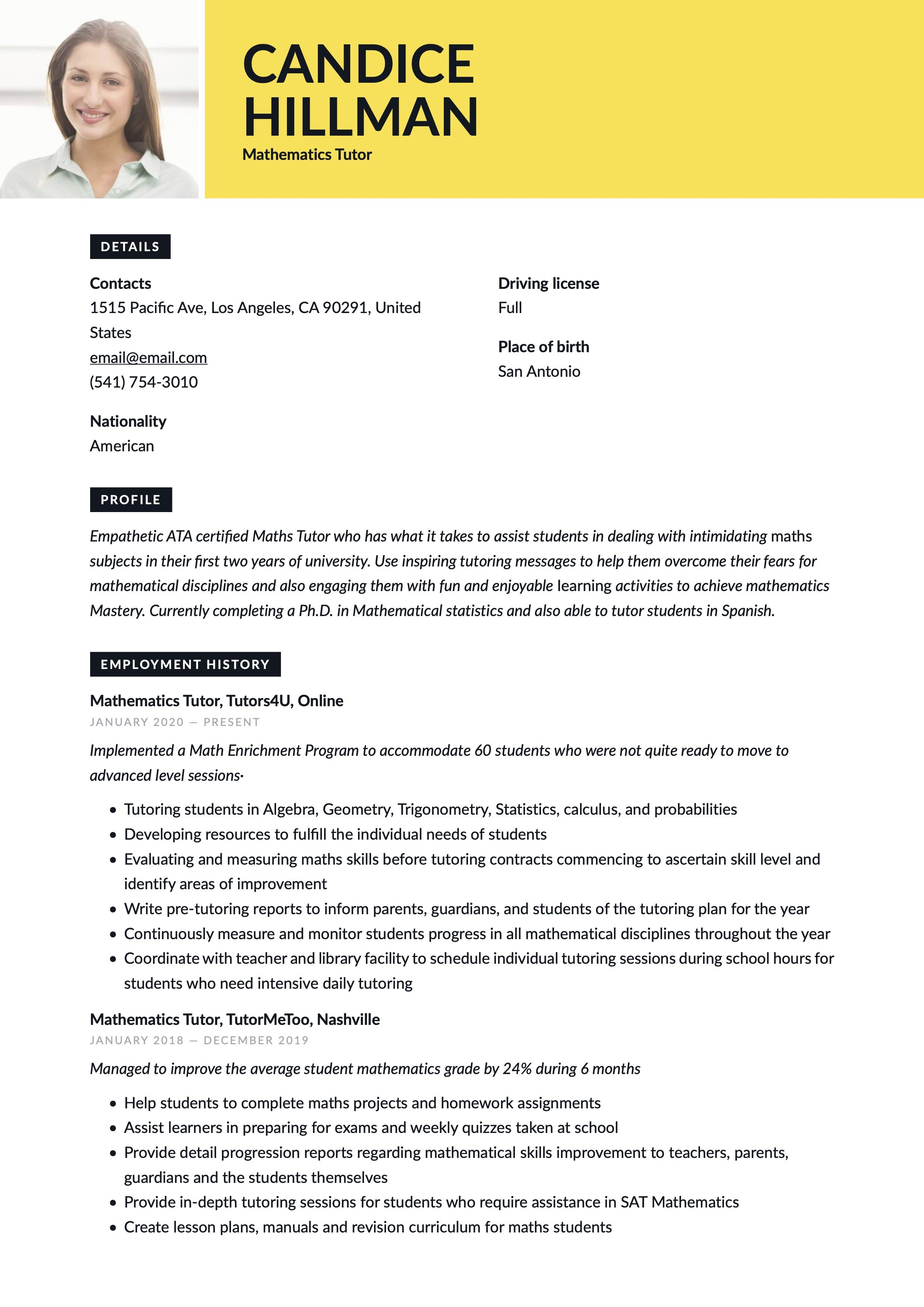 Mathematics Tutor Resume Sample Mathematics Guided Writing Tutor