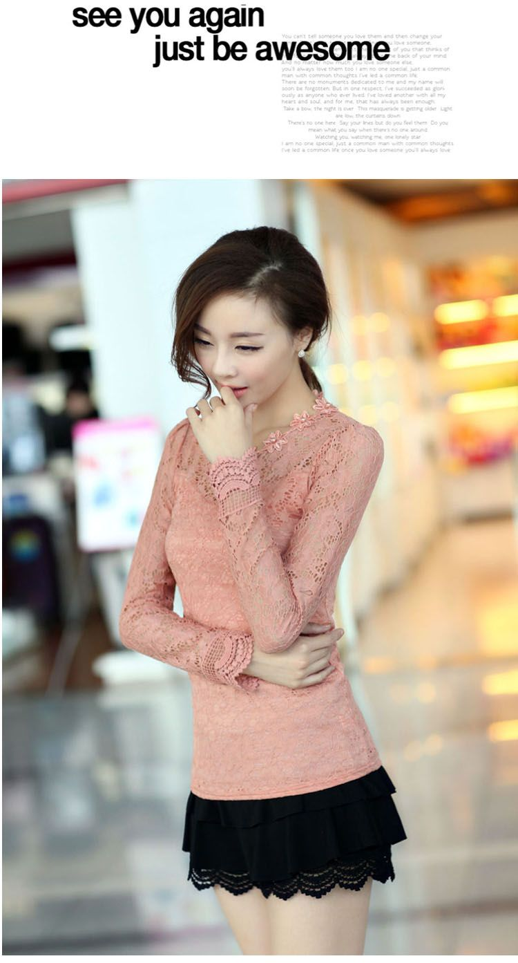 Long Sleeve, Lace Top, YRB0160, Lace Shirt, Lace Blouse, YRB Lace, YRB fashion #pink
