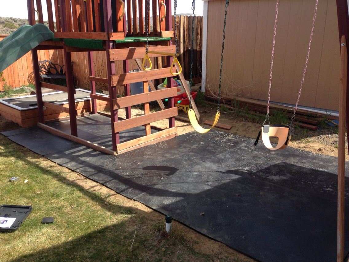 Use stall mats (4x6) from the local feed store as a play ...