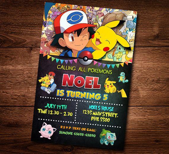 Pokemon Birthday Invitation Card For Kids Invite Text Editable