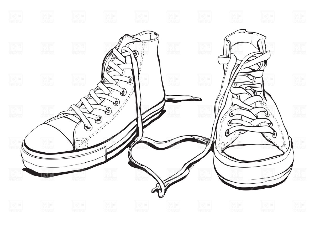 Sneakers 1941 Beauty Fashion Download Royalty Free Vector Clipart Shoes Drawing Converse Sneakers Illustration