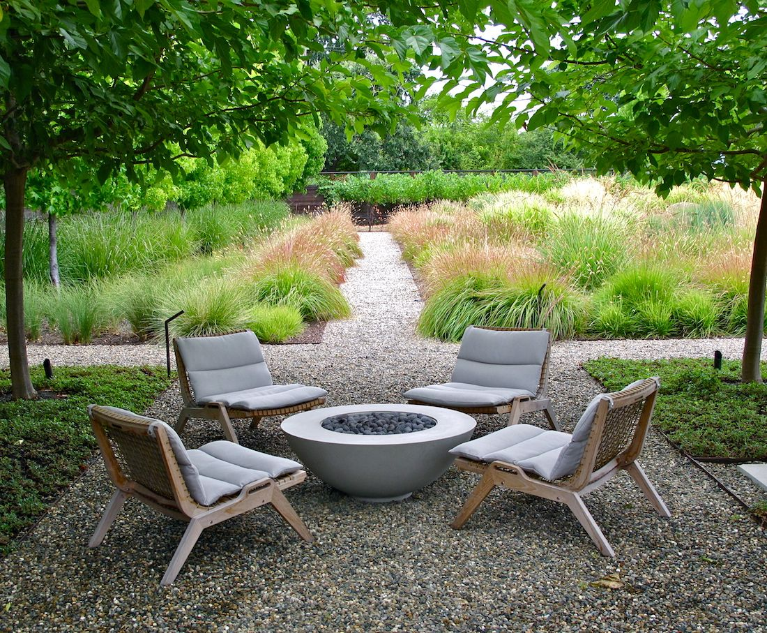 Scott Lewis Nestled Four Serene Lounge Chairs From Henry Hall Around A Fire Pit
