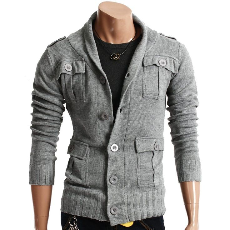 Doublju Mens Casual Strap Knit Jacket. used to have a jacket like this. miss