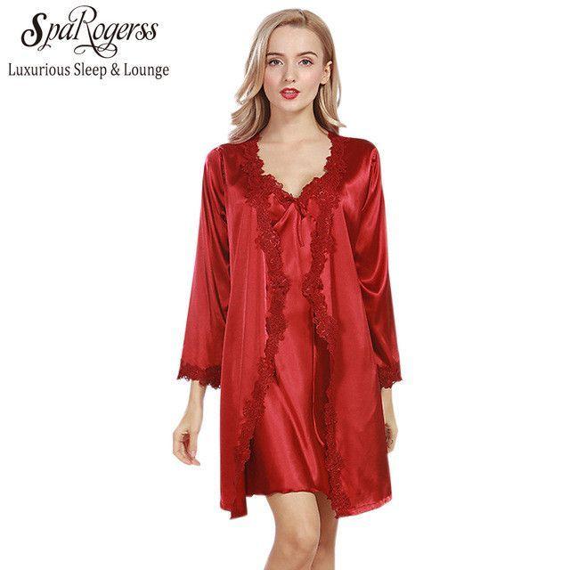 Lace Luxurious Women Robe Gown Set Faux Silk Satin Bath Robe ...