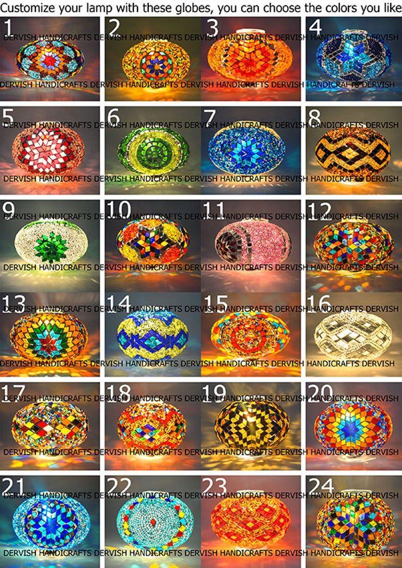 Photo of Floor Lamp 40″ Height, Cat Eye Mix Colors Turkish Mosaic Lamp, Bedside Lamp, Moroccan Decor Lamp, 7″ Glass Diameters