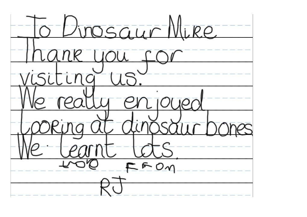 One Of Everything Dinosaurs Team Members Gets A Thank You Note Composed By Reception Aged Children