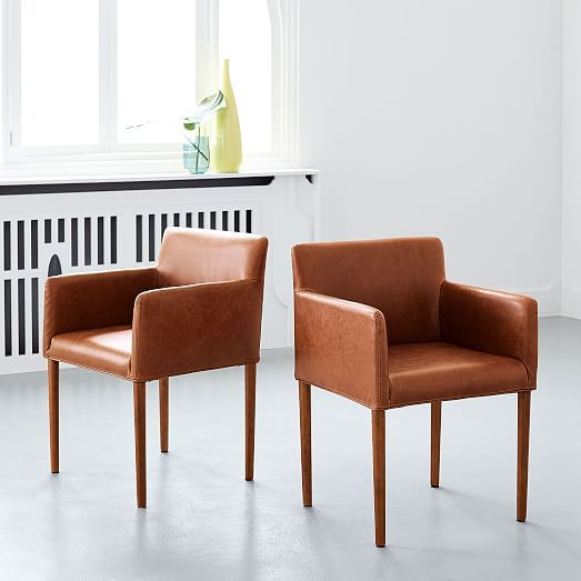 Mid Century Leather Dining Chair In 2020 Mid Century Upholstered