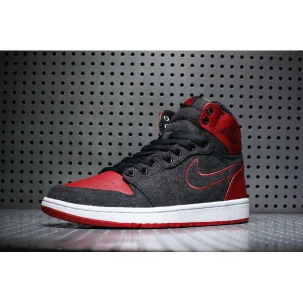 Mens Air Jordan 1 Wool Black/Red