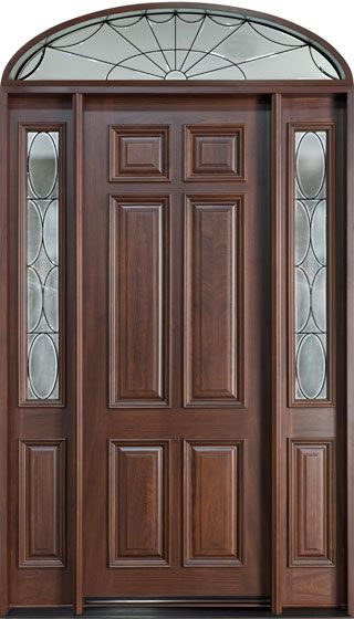 Mahogany Solid Wood Front Entry Door Single With 2 Sidelites W