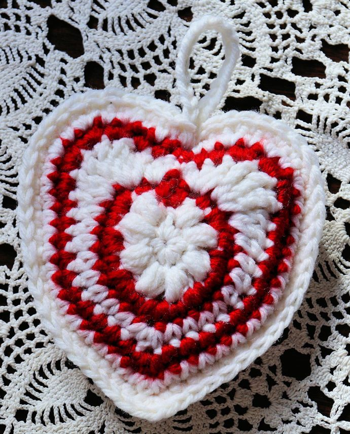 """Hand Crochet Red and White Heart Ornament (4"""" x 5"""" ) by CreativeCrochetbyChris, $5.00 USD"""