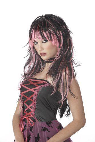 Untamed Black /& Pink Wig Ladies Fancy Dress Halloween Adults Costume Accessory