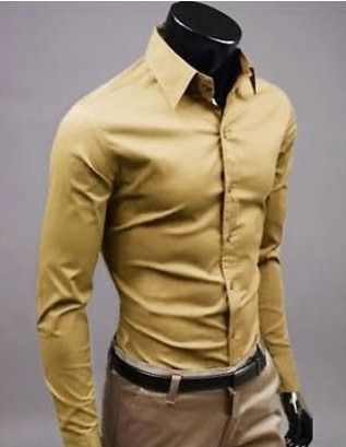 Stylish Long Sleeve Shirt Dark Yellow | Man style
