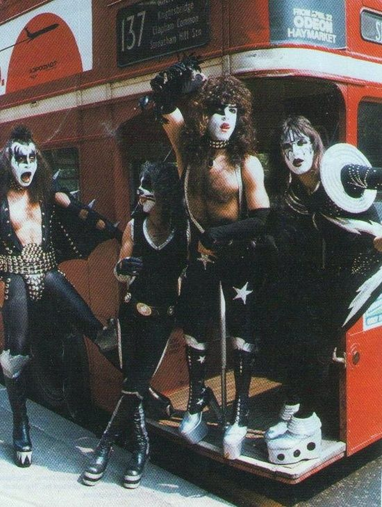 Not sure about these new Transport for London uniforms…. Yeah OK, it's Kiss in London back in the 1970s Left to right Gene Simmons, Peter Criss, Paul Stanley and Ace Frehley