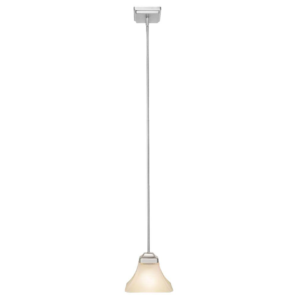 Hampton Bay Nove 1 Light Brushed Nickel Mini Pendant With White Glass Shade 17161 The Home Depot Hanging Pendant Lights White Glass Light