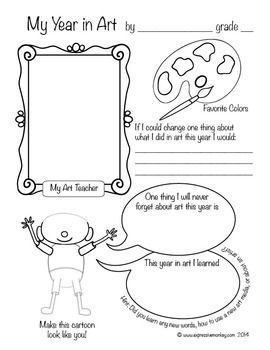 Student Self-Reflection Sheets: My Year in Art | Talking and Writing ...