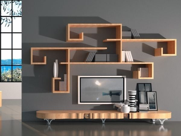 Design low wooden TV cabinet and quirky shelves www