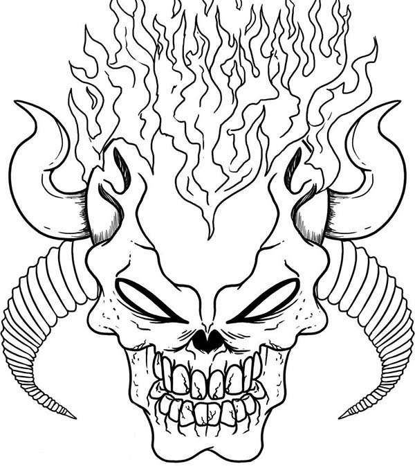 Demonic Skull Coloring Page Coloring Sky In 2020 Skull Coloring Pages Scary Coloring Pages Halloween Coloring Pages